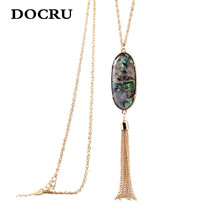 free shipping New fashion women jewelry wholesale Geometric color tassel pendant long necklace sweater chain female necklace(China)
