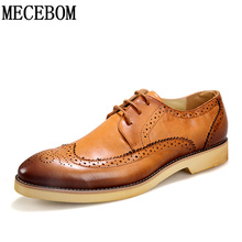 Buy Men's Brogue Shoes fashion brown pointed toe leather shoes breathable lace-up men casual shoes moccasins size 38-43 8205m for $25.00 in AliExpress store