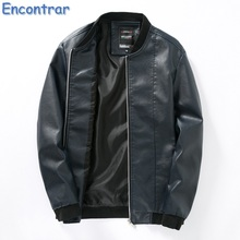 Encontrar Men Zipper Leather Jacket Black Spring Fall Korean Version Stand Collar Thin Male PU Leather Coat Solid Leisure.QA470(China)
