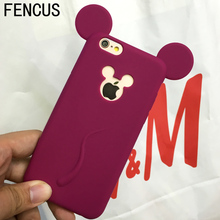 Cute Candy Colors Colorful 3D Soft Mickey Mouse Ear Silicone Cartoon Phone Case Cover for iphone 6S 6plus 7 7plus Cartoon Shell