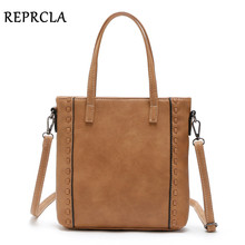 REPRCLA Brand Vintage Weaving Shoulder Bag Handbags Designer Women Messenger Bags Female Crossbody Top-handle Bag(China)