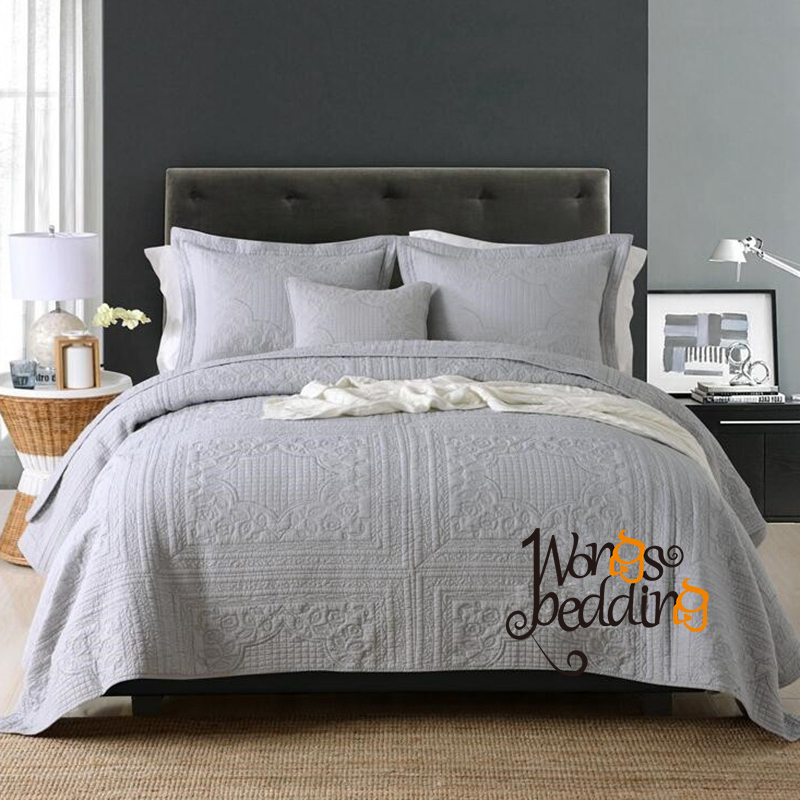 Bedspread Queen Size 100/% Cotton Bed Spread with 2 pillow covers