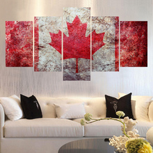 new fashion unframed wall art pictures canvas printed Maple Leaf designs paintings 2017 5 pieces canvas art for living room
