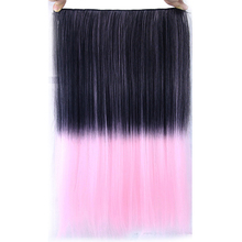 Your Style 24'' Synthetic Straight Ombre Colored Hair Piece Natural Clip In Hair Extensions Width 10'' With 5 Clips Hairpiece