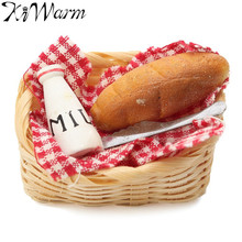 Mini Food Milk Bread Basket Miniatures Doll House Ornaments Craft Figurines Photography Props Toy Kids Birthday Gift Home Decor