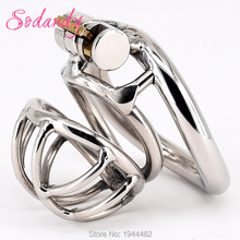 Buy SODANDY 2018 Male Chastity Devices Stainless Steel Mens Smaller Cock Cage Metal Penis Restraints Locking Cock Ring BDSM Bondage