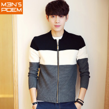 New Men's Stripe Leisure Spell Color Long Sleeves Round Neck Sweater(China)