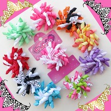 32pcs Hand 2.5 Inch Corker /korker Hair Bow ClipBLESSING Girl Hair Accessories Rolls of ribbon attached on alligator clip(China)