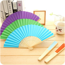 New Cute Japanese Cartoon Mini Folding Fan Summer Chinese Hand Paper Fans Pocket Folding Bamboo Fan Wedding Party Favor CF018