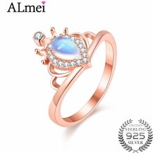 Almei Natural Teardrop Moonstone Wedding Ring Handmade Rose Gold Color Blue Strong Bright Ring Jewelry for Women with BoxCJ032(China)
