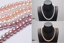 NICE MOTHER'S GIFT!!! 9-10mm Big Size Fashion Freshwater Pearl Necklace Hot Cheap Wholesale, Nice Accessory Jewellery