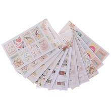 2 sheets/set DIY Scrapbook Paper Retro Tower Flower Stamps Stickers Decoration Envelope Sticker Sticky Note Mixed Delivery