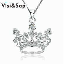 Visisap Crown Necklaces for Women Queen cubic zirconia Pendant jewelry Gorgeous Fascinating Anniversary gifts necklace VLKN743(China)