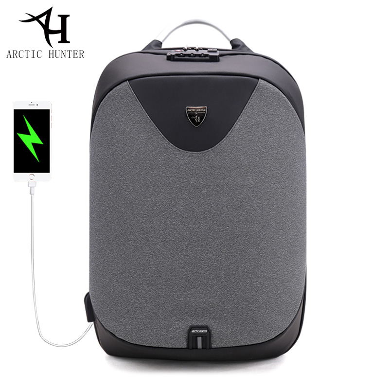 ARCTIC HUNTER School Backpacks 15.6 Laptop backpack men Waterproof Mochila Casual Travel USB Charge Back pack Male Bag Gift<br>