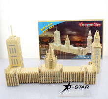 Free Shipping London Big Ben Wooden Puzzle Jigsaw Toy DIY Puzzles Children Educational Wood Fancy Toy Christmas Kids Gift(China)