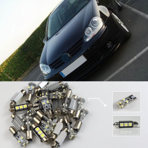 Free Shipping!! 11x VW Golf 5 GT 2003~2008 White LED Lights Interior Package Kit CANBUS #107 <br>