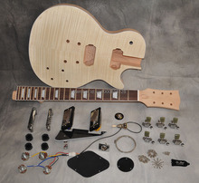 DIY Electric Guitar Kit LP One Piece Mahogany Body And Neck Guitarra Tiger Flame Maple Top Rosewood Fingerboard 22 Fret