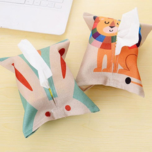 Hot 1Pc Fabric Fashion Cute Cartoon Animal Tissue Paper Pumping Storage Cotton Linen Box Home Table Decoration Accessories 2017