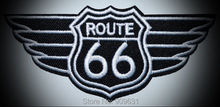 SPONSORED  Route 66 retro muscle cars americana  EMBROIDERED PATCH BLACK IRON-ON APPLIQUE Highway Road Sign Biker