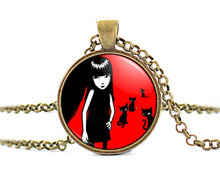 2017 new hot Hand Made Emily the Strange Colar Longo Gothic Necklace Emo Cheap Fashion Jewelry Vintage Bronze