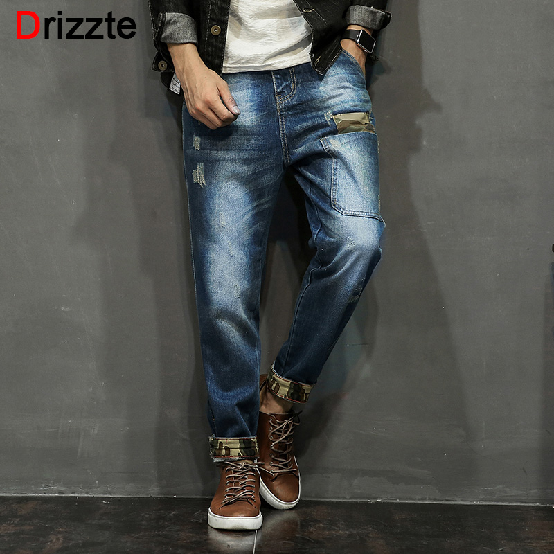 Drizzte Mens Vintage Wash White Patch Ripped Jeans Blue Denim Harem Jean Pants Trousers for Men 28-42 Plus Size Japan Army StyleОдежда и ак�е��уары<br><br><br>Aliexpress