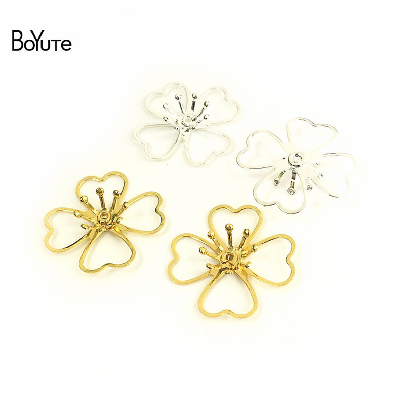 BoYuTe 50Pcs Metal Brass Stamping Filigree Flower Accessories Parts for Bridal Hair Jewelry Making (8)