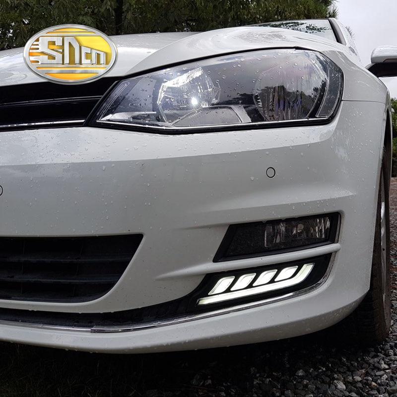 SNCN With Yellow Turning Function 12V Car DRL LED Daytime Running Light Daylight Lamp For Volkswagen Golf 7 MK7 2015 2016<br>