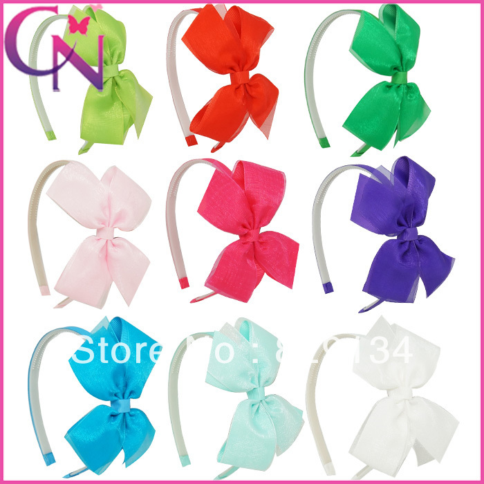 Boutique 9 Pcs/Lot Ribbon Bow Hair band For Girl Organza Hair Bow Hairbands For Kids Baby Hair Accessories ZH9-14022014<br><br>Aliexpress