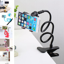 2017 New Universal Long Arm Lazy Mobile Phone Gooseneck Clip Holder Flexible Desk Bed Stand Bracket 360 Rotating For iphone