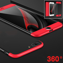 NEW 360 Case 3 in 1 Full Body Cover for coque iphone 7 6 6s plus 6plus fundas capinhas Matte Hybrid Armor Case + Tempered Glass
