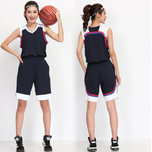 2017 Women Basketball Jersey Uniform Suit Shirt and Short Pants Team Training Clothes girls breathable blank sports kit wear(China)