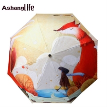 Cute Fox Girl Cartoon Illustration Three Folding Umbrella 8 Rib Wind Resistant Frame For Mom