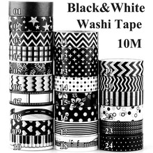 Black and White dots chevron cross Movie Reel Film Print Camera Japanese Washi Tape for Scrapbooking Decorative Masking Tape 10m