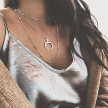 Buy Fashion Metal Beads Chain Choker Necklace Women Multilayer Moon Pendant Necklace Boho Beach Collar Jewelry Christmas Gift for $1.06 in AliExpress store