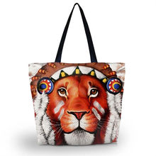 Tiger Women Folding Tote Large Shopping Bag Casual Beach Tote Eco Daily Use Girl's Travel School Handbag Grocery Packing Tote(China)