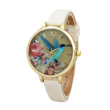 Lovely Blue Hummingbird Women Leather Band Watches Ladies Dress Gold Round Case Clock Analog Quartz Movement WristWatch Relogio