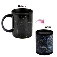 Mug Magic Cup Black Caneca Chameleon Coffee Cups 330ml Night Star Ceramic Espresso Cup Thermomug tasse cafe(China)