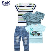 XT-254 Boys clothing set jeans pants one with three T-shirt  cotton cartoon clothing set boys clothing kids clothes