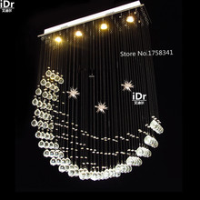 Free shipping modern popular design crystal lamp 1000*200*D800mm luxury curtain wave crystal led pendant lights #263(China)