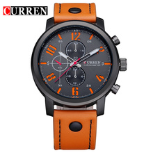Quartz-Watch CURREN Men's Sport watches Top Brand Luxury Men Watches Fashion Man Wristwatches Leather Strap Relogio Masculino(China)