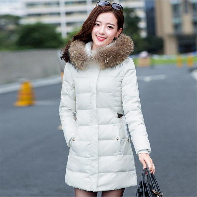 2017 Sweet Fashion Winter Women Down Cotton Coat Large Fur Collar Padded Hooded Female Slim Size M-3XL Thicken Cotton ParkaCQ065Îäåæäà è àêñåññóàðû<br><br>