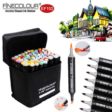 Finecolour Felt Alcohol Sketch Markers EF102 Set 36/48/60/72/240 Colors Dual Calligraphy Brush Pens for Anime/Landscape/Interior(China)