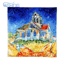 Women 100% Silk Square Scarf Echarpe Necktie Hand Rolled Hem Bag Scarf Accessory Van Gogh's The Church at Auvers(China)