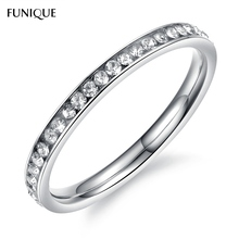 2017 New FUNIQUE Stainless Steel Rings For Women With Rhinestone Bright Sliver Color Ring Fashion Jewelry Gifts For Lovers