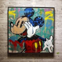 Free shipping pop artist Painting Graffiti art popular's and Banksy's artworks hand painted no frame T-056(China)