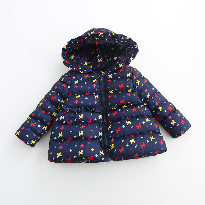 Children clothing  cotton - padded girls winter jacket butterfly printed hooded baby girls winter coats kids outerwear Одежда и ак�е��уары<br><br><br>Aliexpress
