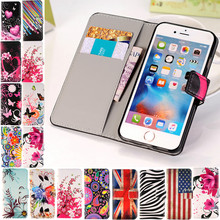 For iPhone SE 4s 4 5G 5s 5 6 6G 6s 7 Plus Butterfly Painting Flip Wallet Leather Soft TPU Cover Case With Credit Card Holder