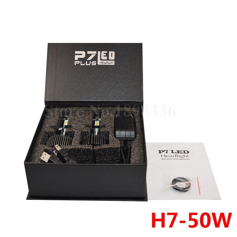 2x External Light P7 Plus H7 Single Beam Car LED Headlight Bulbs 50W 5000LM white 6000k Korea CSP chips with driver replace Kits<br>