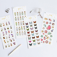 Creative Flower Vase Diamond Candy PVC Decoration Adhesive Stickers DIY Stickers Diary Sticker Scrapbook Stationery Stickers