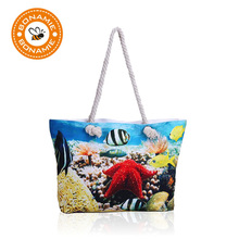 BONAMIE Fashion Design Women Polyester Tote Bag Sea World Small Fresh Tropical Fish Big Hemp Rope Beach Bag Girl Shoulder Bag(China)